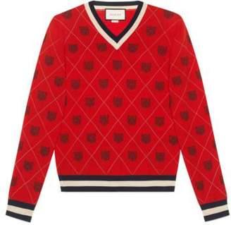 Gucci Tiger argyle wool sweater