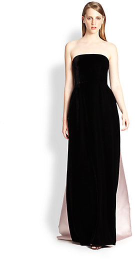 Rochas Mixed Media Strapless Gown