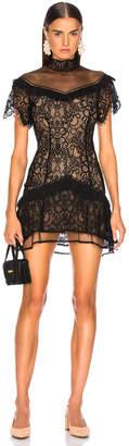 Jonathan Simkhai Mixed Lace Mockneck Mini Dress in Black | FWRD