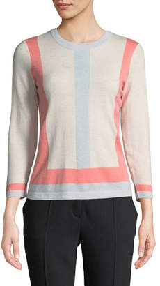 Escada Colorblocked Crewneck Wool-Cashmere Pullover