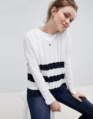 Jack Wills Pleated Stripe Hem Sweater