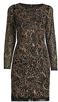Aidan Mattox Women's Beaded Sequin Long-Sleeve Sheath Dress
