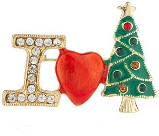 Lux Accessories Silver Tone I Love Christmas Xmas Tree Brooch Pin