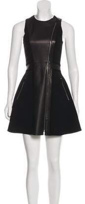 Rag & Bone Leather Crepe-Paneled Dress