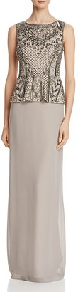 Adrianna Papell Embellished Peplum Bodice Gown $349 thestylecure.com