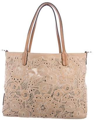 Valentino Lace-Trimmed Canvas Tote Tan Lace-Trimmed Canvas Tote