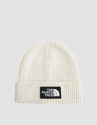 The North Face Black Box Logo Box Cuff Beanie in Vintage White