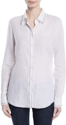 Gabriela Hearst Long-Sleeve Button-Down Linen Shirt w/ Contrast Topstitching