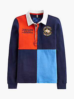 Joules Little Joule Boys' Harlequin Rugby Top, Blue