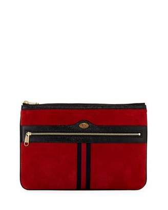 Gucci Ophidia Large Suede Zip Pouch Bag