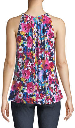 London Times High-Neck Floral Draped Tank