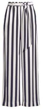 Frame Women's Silk Wide-Leg Striped Easy Pants - Navy - Size Large