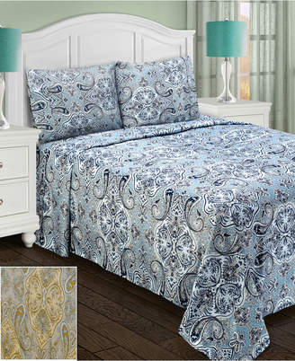 Superior Heritage 1800 Series Paisley Sheet Set - California King - Light Blue Bedding