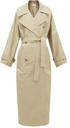 Raey Batwing Split Back Cotton Trench Coat - Womens - Beige
