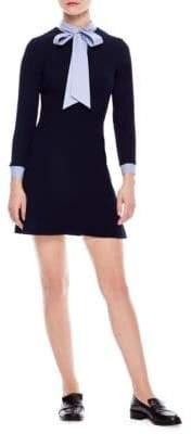 Sandro Jacinta Stripe Trim A-Line Dress