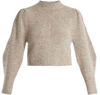 Isabel Marant Elaya Crew Neck Knit Sweater - Womens - Light Grey