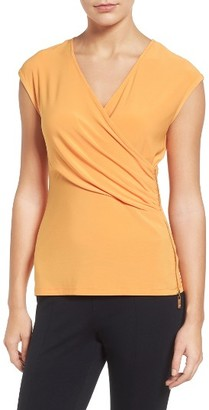 Women's Chaus Zip Faux Wrap Top $59 thestylecure.com