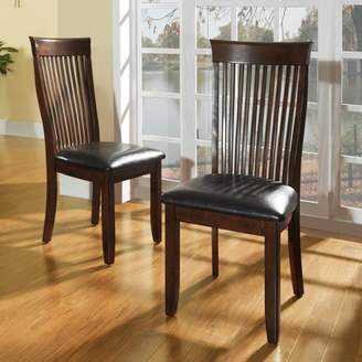 Weston Home Bi-Cast Side Chair , Set of 2, Warm Cherry and Dark Brown Faux Leather