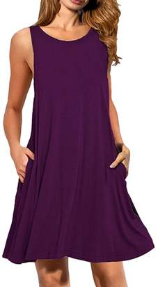 OMZIN Womens Sleeveless Top T-Shirt Swing Dress with Pockets Navy Blue,M