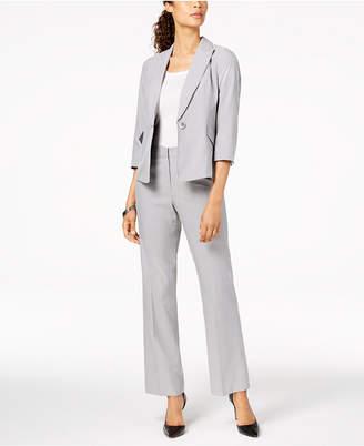 Le Suit One-Button Pinstriped Pantsuit, Regular & Petite