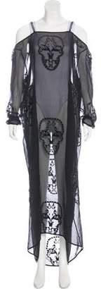 Thomas Wylde Embroidered Cold-Shoulder Dress