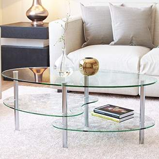 clear Ryan Rove Ashley 38 Inch Oval Two Tier All Glass Coffee Table
