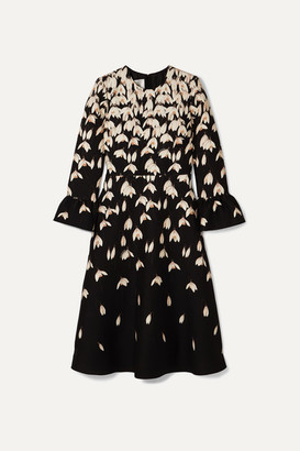 Valentino Floral-print Wool And Silk-blend Midi Dress - Black