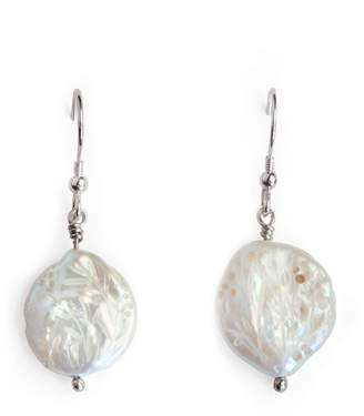 Tripp Candice Hand Carved Flat Coin Pearl Earrings