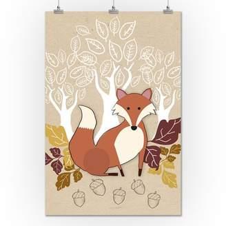 Fall - Fox w/ Leaves - Lantern Press Poster (24x36 Giclee Gallery Print, Wall Decor Travel Poster)