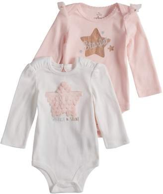 """Baby Starters Baby Girl 2-pack Star Applique & """"Starlet"""" Graphic Bodysuits"""