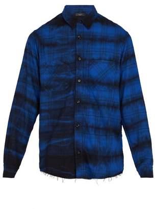 Amiri - Tie Dye Plaid Cotton Shirt - Mens - Blue