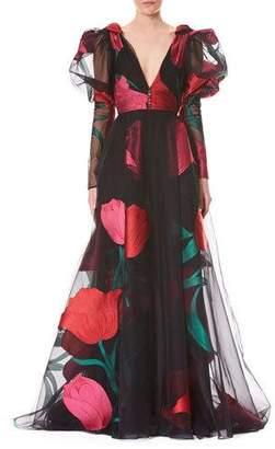 Carolina Herrera Deep-V Full-Sleeve Tulip-Printed Tulle Evening Gown