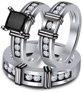 Black Diamond Smjewels 1.25 ct Black & Diamond 14k Gold Fn Engagement Wedding Ring Trio Set