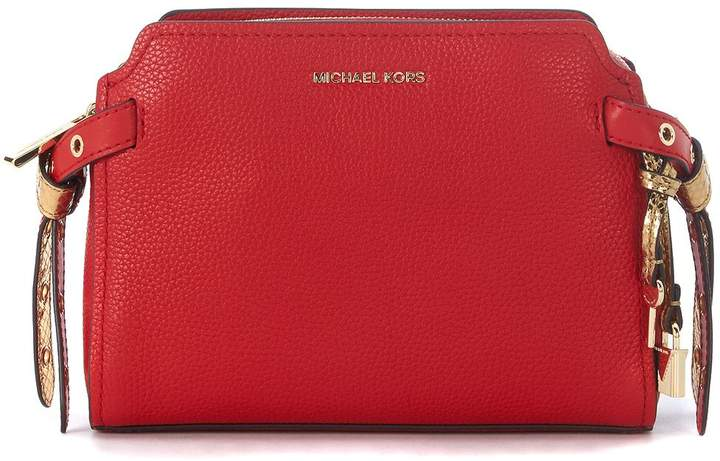 Michael Kors Bristol Tumbled Leather Messenger Bag - ROSSO - STYLE