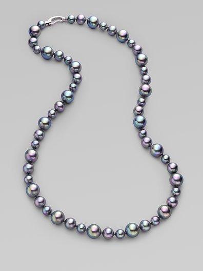 Majorica 8MM-12MM Grey Pearl Necklace/24