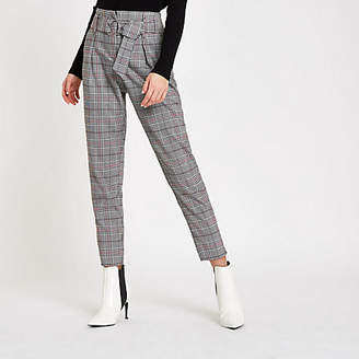 River Island Womens Red check belted tapered trousers
