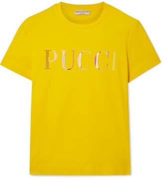 Emilio Pucci Appliquéd Cotton-jersey T-shirt - Mustard