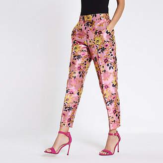 River Island Pink floral jacquard straight leg pants