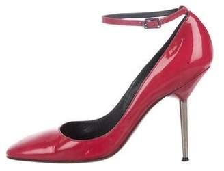 Lanvin Patent Leather Ankle Strap Pumps