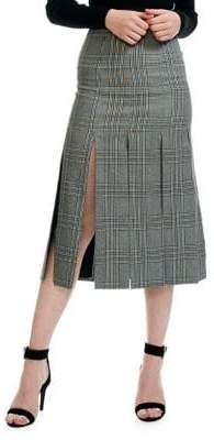 Maje Jlino Check Flared Midi Skirt