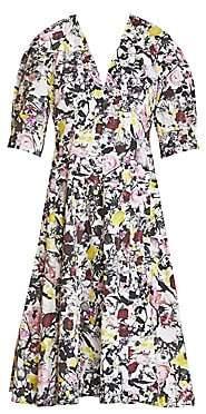 Erdem Women's Cressida Floral Puff-Sleeve A-Line Dress