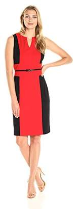 Lark & Ro Women's Sleeveless Colorblocked Sheath Dress