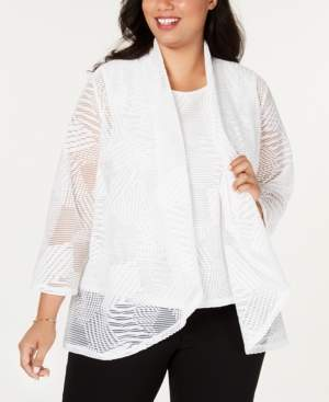 Kasper Plus Size Sheer Cardigan