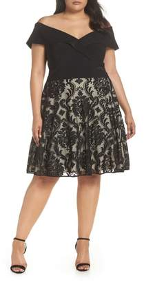 Xscape Evenings Off the Shoulder Embroidered Skirt Dress