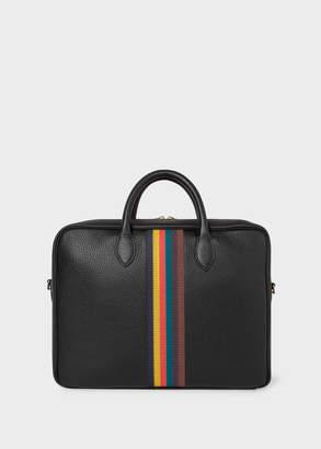 Paul Smith Men's Black 'Bright Stripe' Leather Business Folio