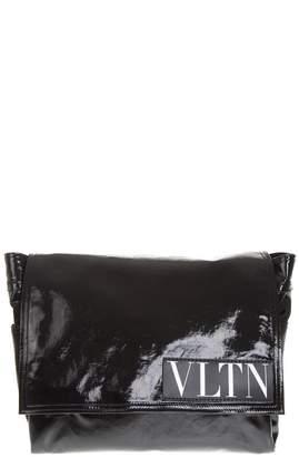 Valentino Black Messenger Bag With Logo Vltn