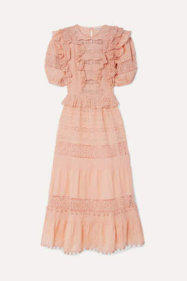 Ulla Johnson Guinivere Crochet-trimmed Broderie Anglaise Cotton-blend Maxi Dress - Peach