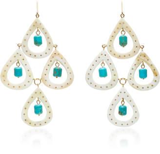 Ashley Pittman Jasiri Horn and Turquoise Earrings