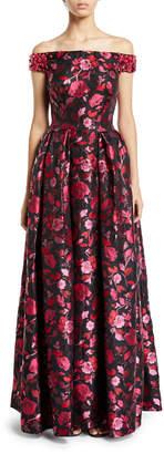 Zac Posen Off-the-Shoulder Embellished Floral-Jacquard Evening Gown