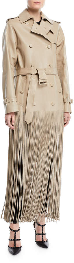 Double-Breasted Belted Fringe Hem Leather Trench Coat